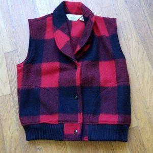 Woolrich Women Buffalo Plaid Wool Vest Size S
